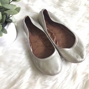 Lucky Brand Emmie Silver Leather Flats